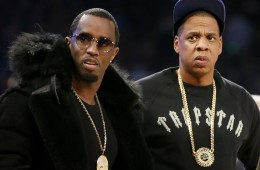 "Rap moguls Sean ""Puffy"" Combs, left, and Jay-Z attend the NBA All-Star basketball game, Sunday, Feb. 15, 2015, in New York."